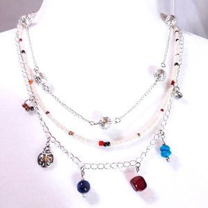 Triple Strand Necklace ~ Filigree, Beads & Charms